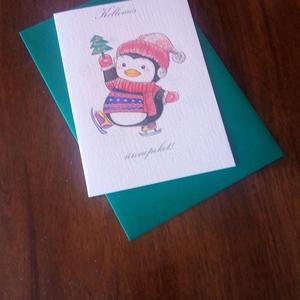 Aranyos pingvines karácsonyi képeslap, Karácsonyi képeslap, Karácsony & Mikulás, Otthon & Lakás, Papírművészet, Aranyos pingvines karácsonyi képeslap.\n\nMérete B6, borítékkal együtt egy csomag.\n\nA grafikai tervezé..., Meska