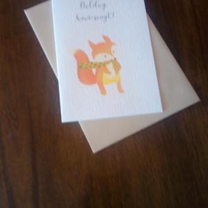 Rókás karácsonyi képeslap, ajándékkísérő, Karácsonyi képeslap, Karácsony & Mikulás, Otthon & Lakás, Fotó, grafika, rajz, illusztráció, Papírművészet, Rókás karácsonyi képeslap.\n\nMérete B6, borítékkal együtt egy csomag.\n\nA grafikai tervezés saját, a b..., Meska