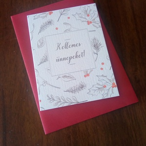 Fagyöngyös, elegáns karácsonyi képeslap, Karácsonyi képeslap, Karácsony & Mikulás, Otthon & Lakás, Fotó, grafika, rajz, illusztráció, Papírművészet, Elegáns karácsonyi képeslap.\n\nMérete B6, borítékkal együtt egy csomag.\n\nA grafikai tervezés saját, a..., Meska