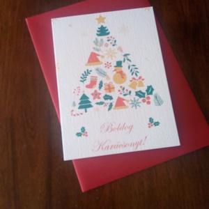 Színes karácsonyi képeslap, Karácsonyi képeslap, Karácsony & Mikulás, Otthon & Lakás, Fotó, grafika, rajz, illusztráció, Papírművészet, Színes karácsonyi képeslap.\n\nMérete B6, borítékkal együtt egy csomag.\n\nA grafikai tervezés saját, a ..., Meska