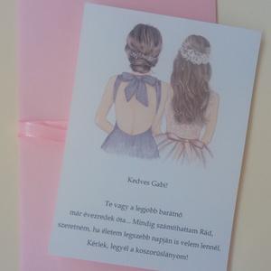 Rajzolt koszorúslány-felkérő kártya borítékkal, tanúfelkérő, esküvőre - Meska.hu
