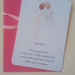 Rajzolt koszorúslány-felkérő kártya borítékkal, tanúfelkérő, esküvőre leírása, Esküvő, Meghívó, Meghívó & Kártya, Rajzolt koszorúslány-felkérő kártya borítékkal.  A csomag tartalma: - 1 db felkérő (A/6 méret, egyed..., Meska