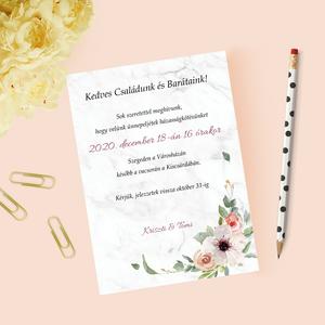 Virágos esküvői meghívó - Meska.hu