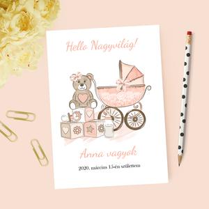 Lányos baba bejelentő kártya, keresztszülő felkérő, Játék & Gyerek, Babalátogató ajándékcsomag, Papírművészet, Fotó, grafika, rajz, illusztráció, Lányos, cuki bababejelentő kártya\n\nA csomag tartalma:\n-1db 10*14cm-es kinyitható kártya (személyre s..., Meska