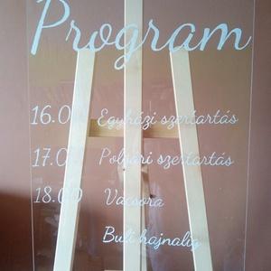 Festett plexi tábla esküvőre, party dekor, Esküvő, Esküvői dekoráció, Otthon & lakás, Fotó, grafika, rajz, illusztráció, Esküvőkön mutatós dísz lehet az átlátszó plexi lapra festett köszönő tábla, program tábla.\n\nA tábla ..., Meska