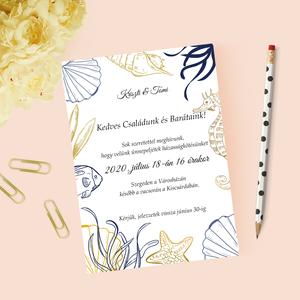 Nyári/tengerparti esküvői meghívó, party meghívó, üdvözlőlap, Esküvő, Meghívó, Meghívó & Kártya, Papírművészet, Fotó, grafika, rajz, illusztráció, Meska