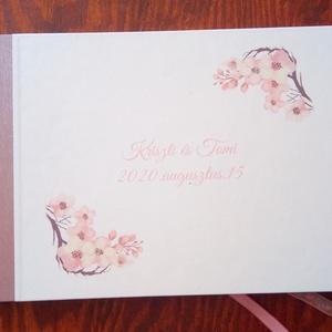 A/5-ös, A/4-es esküvői vendégkönyv, fotókönyv bulira, partyra, cseresznyevirág mintával, Vendégkönyv, Emlék & Ajándék, Esküvő, Papírművészet, Fotó, grafika, rajz, illusztráció, Egyedi borítójú A/5-ös vagy A/4-es vendégkönyv esküvőre. \nA borító egyedi mintával készülhet.\n\n\nA bo..., Meska