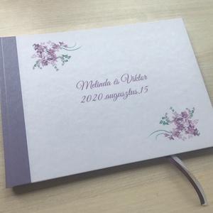 A/5-ös, A/4-es esküvői vendégkönyv, fotókönyv bulira, partyra, levendula mintával, Esküvő, Vendégkönyv, Emlék & Ajándék, Egyedi borítójú A/5-ös vagy A/4-es vendégkönyv esküvőre.  A borító egyedi mintával készülhet.   A bo..., Meska