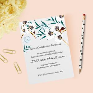 Virágos esküvői meghívó, Esküvő, Meghívó, Meghívó & Kártya, Papírművészet, Fotó, grafika, rajz, illusztráció, Meska