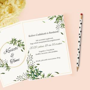 Greenery stílusú esküvői meghívó, Esküvő, Meghívó, Meghívó & Kártya, Papírművészet, Fotó, grafika, rajz, illusztráció, Meska