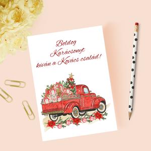 Karácsonyi képeslap, ajándék, üdvözlőlap, Otthon & Lakás, Karácsony & Mikulás, Karácsonyi képeslap, Papírművészet, Karácsonyi képeslap.\n\nMérete B6, borítékkal együtt egy csomag.\n\nA grafikai tervezés saját, a belső o..., Meska