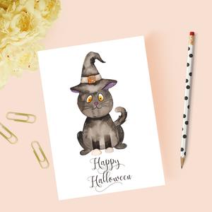 Halloweeni képeslap, ajándék, üdvözlőlap, Otthon & Lakás, Papír írószer, Képeslap & Levélpapír, Papírművészet, Meska