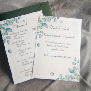 Greenery esküvői meghívó, Esküvő, Meghívó & Kártya, Meghívó, Greenery esküvői meghívó.  Az alapcsomag tartalma: - 1 db meghívó 10*14 cm  Színben hozzá illő borít..., Meska
