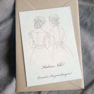 Rajzolt koszorúslány-felkérő kártya borítékkal, tanúfelkérő, esküvőre, Esküvő, Meghívó & Kártya, Meghívó, Rajzolt koszorúslány-felkérő kártya borítékkal.  A csomag tartalma: - 1 db felkérő (A/6 méret, egyed..., Meska