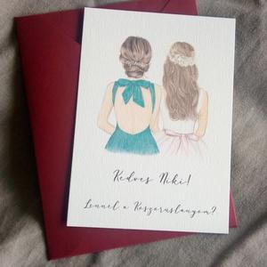 Rajzolt koszorúslány-felkérő kártya borítékkal, tanúfelkérő, esküvőre, Esküvő, Meghívó & Kártya, Meghívó, Papírművészet, Meska