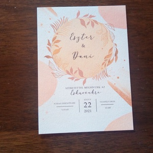 Rosegold, virágos esküvői meghívó - Meska.hu