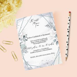 Greenery esküvői meghívó, Esküvő, Meghívó & Kártya, Meghívó, Papírművészet, Fotó, grafika, rajz, illusztráció, Meska