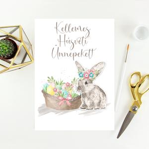 Húsvéti képeslap, ajándék, üdvözlőlap, Otthon & Lakás, Papír írószer, Képeslap & Levélpapír, Papírművészet, Húsvéti képeslap.\n\nMérete B6, borítékkal együtt egy csomag.\n\nA grafikai tervezés saját, a belső olda..., Meska