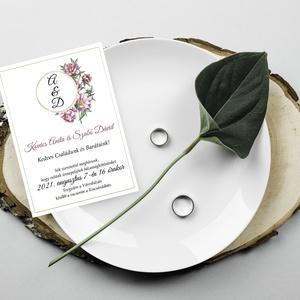 Virágos esküvői meghívó, Esküvő, Meghívó & Kártya, Meghívó, Papírművészet, Fotó, grafika, rajz, illusztráció, Meska