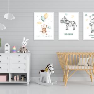 Állatos falikép csomag, 3db, babaszoba dekor, kisfiú, Játék & Gyerek, Babalátogató ajándékcsomag, Papírművészet, Fotó, grafika, rajz, illusztráció, Meska