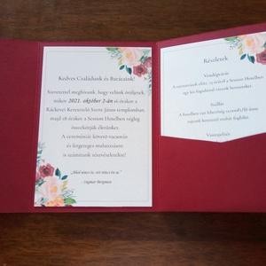 Zsebes esküvői meghívó, Esküvő, Meghívó & Kártya, Meghívó, Fotó, grafika, rajz, illusztráció, Papírművészet, Egyedi mintával és színben elkészülő zsebes esküvői meghívó.\nA szett tartalma: \nKülső boríték\n1 db b..., Meska