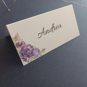 Virágos ültetőkártya esküvőre, születésnapra, partyra, Esküvő, Meghívó & Kártya, Papírművészet, Fotó, grafika, rajz, illusztráció, Meska