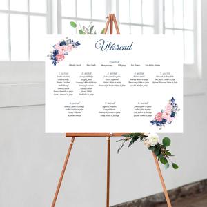 Navy blue virágos esküvői ülésrend, vintage esküvői kellék, Esküvő, Meghívó & Kártya, Ültetési rend, Fotó, grafika, rajz, illusztráció, Papírművészet, Meska