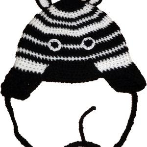Zebracsikó - Horgolt babasapka (zebrás fülvédővel), Gyerek & játék, Baba-mama kellék, Horgolás, 1-3 éves gyerekeknek.\nBolyhosodás mentes akrilfonalból készült zebracsikó.\n\n, Meska