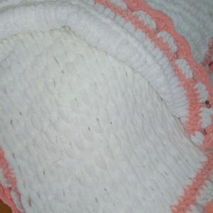 Babaváró babatakaró kislányoknak, Gyerek & játék, Baba-mama kellék, Gyerekszoba, Falvédő, takaró, Horgolás, \nNatúr fehér Alice Puffy és barack rózsaszín Himalaya Dolphin Baby Oeko-tex pihe-puha plüss fonalakb..., Meska