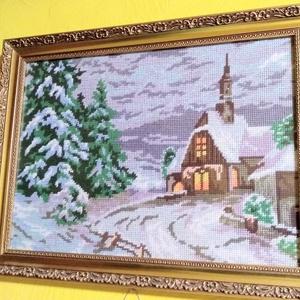 Téli nyugalom, Gobelin, Textil, Művészet, Varrás, Hímzés, A gobelin egy téli tájképet ábrázol, gobelin varrással, balról jobbra dőlő technikával készült. A ké..., Meska