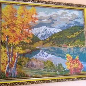 Őszi tó, Gobelin, Textil, Művészet, Varrás, Hímzés, A gobelin egy őszi tájképet ábrázol, gobelin varrással, balról jobbra dőlő technikával készült. A ké..., Meska