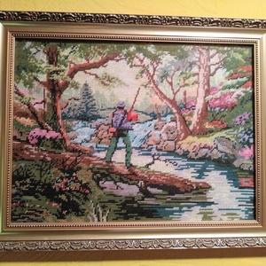 A horgász, Gobelin, Textil, Művészet, Varrás, Hímzés, A gobelin egy horgászt ábrázol tavasszal, a fák között. Gobelin varrással, balról jobbra dőlő techni..., Meska