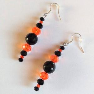 Ónix csiga ásványköves fülbevaló, Ékszer, Fülbevaló, Ékszerkészítés, A fülbevalót egy-egy 10 mm-es ónix csiszolt ásványkőre építettem. Különböző méretű fekete és narancs..., Meska