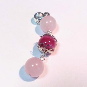 2 pink ásványmedál, Ékszer, Medál, Ékszerkészítés, A medált 2 db 10 mm-es Rózsakvarc és egy 10 mm-es Pink Achát ásványkövekből készítettem.  A gyöngyök..., Meska