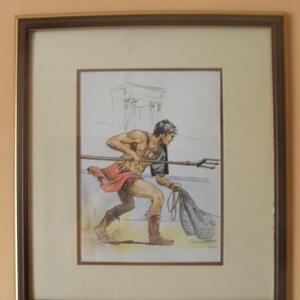 Római, Képzőművészet, Otthon & lakás, Grafika, Rajz, Festészet, tus, színes ceruza, műanyag keret, 22x26 cm, Meska