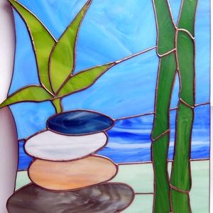 Bambusz, Otthon & lakás, Dekoráció, Kép, Lakberendezés, Falikép, Lámpa, Fali-, mennyezeti lámpa, Üvegművészet, 31x25 cm, 34 db elsőosztályú Tiffany-üvegből áll (Spectrum), lámpaszerelvénnyel.\negy drága osztályfő..., Meska