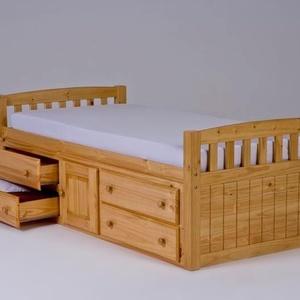 Gyerek fenyő ágy, 4db fiókkal, 1db nyitható szekrénnyel., Ágy, Bútor, Otthon & Lakás, Famegmunkálás, Gyerek fenyő ágy, 4db fiókkal, 1db nyitható szekrénnyel.\n\nEgyedi elképzelés alapján is gyártunk ágya..., Meska