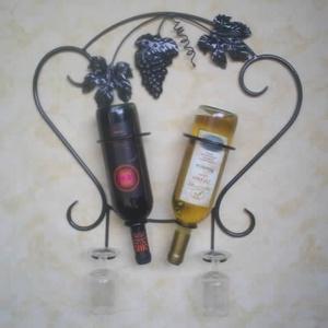 """2-es fali bor-pohártartó, \\\""""S\\\"""" minta motívummal., Bortartó, Konyhafelszerelés, Otthon & Lakás, Fémmegmunkálás, Megrendelhető ez a kézzel készített egyedi bor-pohártartó, két üveg bor tárolására alkalmas, és két ..., Meska"""