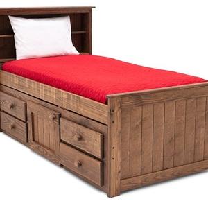 Fenyő ágy, 4db fiókkal, 1db nyitható szekrénnyel., Ágy, Bútor, Otthon & Lakás, Famegmunkálás, Fenyő ágy, 4db fiókkal, 1db nyitható szekrénnyel, fejrésznél praktikus polccal.\n\nEgyedi elképzelés a..., Meska