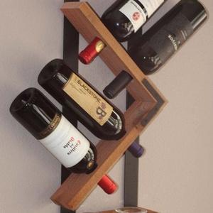 Fali bor-pohártartó., Bortartó, Konyhafelszerelés, Otthon & Lakás, Famegmunkálás, Fémmegmunkálás, Megrendelhető a fotón látható fali bor-pohár tartó, lakkozva.\nLazúrral kezelve + 2.000ft.\n\nVálasztha..., Meska