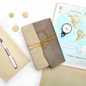 \' Viking \' Antik VALÓDI BŐR Napló / Journal A6 MÉRETŰ - Szimbólummal, Égetett első lappal, Jegyzetfüzet & Napló, Papír írószer, Otthon & Lakás, Bőrművesség, Könyvkötés, Antik stílust kedvelőknek! \n\nAz első oldalon egy Viking jelképpel:\n-  neve Vegvisir - Viking Iránytű..., Meska