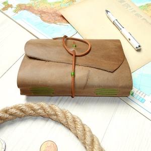 \' Viking \' Antik Bőr Napló A6 - Szimbólummal - Égetett első lappal, Otthon & lakás, Naptár, képeslap, album, Jegyzetfüzet, napló, Bőrművesség, Könyvkötés, Antik stílust kedvelőknek! \n\nAz első oldalon egy Viking jelképpel:\n-  neve Vegvisir - Viking Iránytű..., Meska