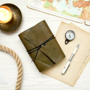\' Viking \' Antik VALÓDI BŐR Napló A6 - Szimbólummal, Égetett első lappal, Otthon & Lakás, Papír írószer, Jegyzetfüzet & Napló, Bőrművesség, Könyvkötés, Antik stílust kedvelőknek! \n\nAz első oldalon egy Viking jelképpel:\n-  neve Vegvisir - Viking Iránytű..., Meska