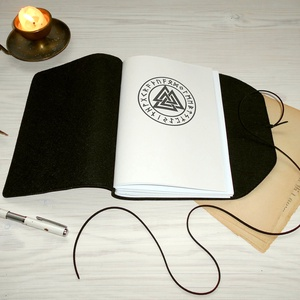 ' ODIN ' Műbőr Napló - VALKNUT Viking szimbólummal - otthon & lakás - papír írószer - jegyzetfüzet & napló - Meska.hu