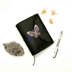 ' Éjféli Pillangó ' Műbőr Napló / Journal A6 - Black, Otthon & Lakás, Papír írószer, Jegyzetfüzet & Napló, Bőrművesség, Könyvkötés, Meska