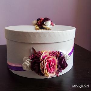 Egyedi lila-rózsaszín-fehér esküvői pénzgyűjtő doboz, Nászajándék, Emlék & Ajándék, Esküvő, Mindenmás, Virágkötés, EGYEDI ESKÜVŐI PÉNZGYŰJTŐ DOBOZT KERESTEK? \n\nEz a különleges selyemvirágokkal és habrózsákkal díszít..., Meska