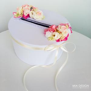 Egyedi Sárga-rózsaszín-fehér esküvői pénzgyűjtő doboz, Asztaldísz, Dekoráció, Esküvő, Mindenmás, Virágkötés, EGYEDI ESKÜVŐI PÉNZGYŰJTŐ DOBOZT KERESTEK? \n\nEz a különleges selyemvirágokkal és habrózsákkal díszít..., Meska