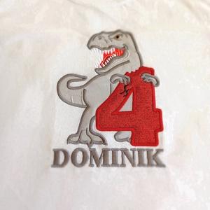 Szülinapos, Dinoszauruszos, névvel és picurka életkorával ellátott, 100% pamut póló, Ruha & Divat, Babaruha & Gyerekruha, Póló, Hímzés, Dinoszauruszos, szülinapos, névvel és picurka életkorával ellátott, 100% pamut póló, mely ideális vi..., Meska
