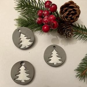 Karácsonyfa dísz - szürke/fehér arany - Meska.hu
