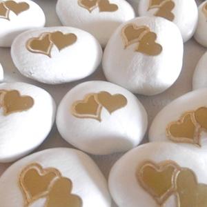 Arany szívek - ajándékkísérő, köszönetajándék, ünnepi dekoráció, home dekorkavics  (KyBarbi) - Meska.hu